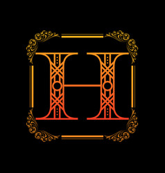 letter h with ornament vector image