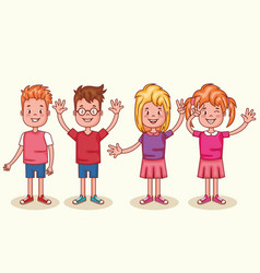Little happy kids avatars characters vector