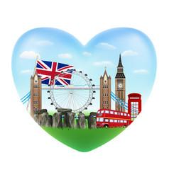 love england heart shape logo with england flag vector image