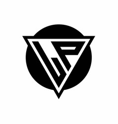 Lp logo with negative space triangle and circle vector