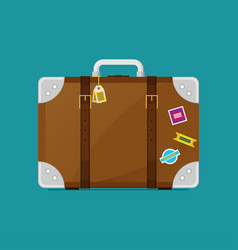 luggage symbol of flat color icon with long shadow vector image