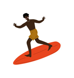 male surfer riding surfboard catching waves vector image