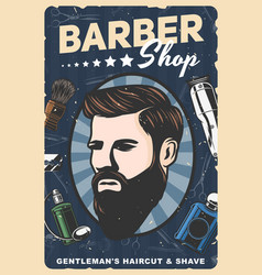 Man with beard mustaches barbershop razor comb vector