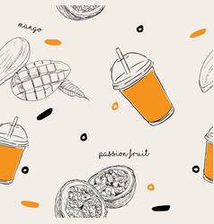 mango and passion fruit smoothie seamless pattern vector image