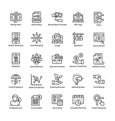 Market and economy line icons set vector