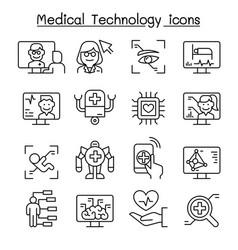 Medical technology futuristic medicine icon set vector