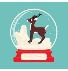 Merry christmas glass ball with reindeer rudolf vector
