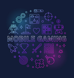 mobile gaming round colorful outline vector image