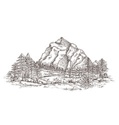 mountain landscape sketch nature doodle drawing vector image