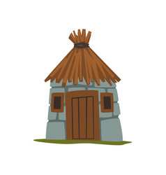 old stone house with thatched roof vector image