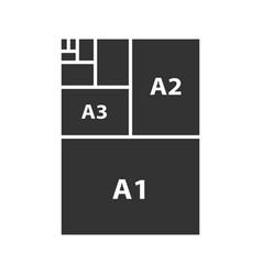 Paper sizes glyph icon vector