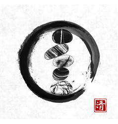 Pebble zen stones balance in black enso zen circle vector