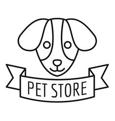 pet store dog food logo outline style vector image