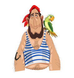 pirate and his parrot cartoon character vector image