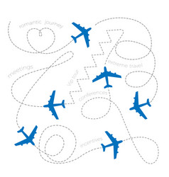 Planes leaving dashed lines concept romantic vector