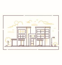 police station - modern line design style vector image