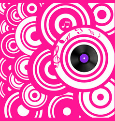psychedelic pink retro music background with vector image