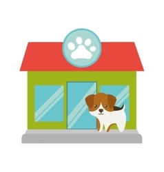 puppy little portrait lovely pet shop facade paw vector image