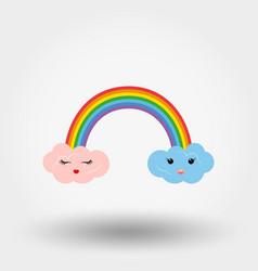 rainbow with cute clouds kawaii icon vector image
