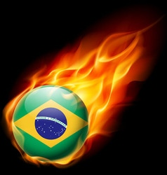Round glossy icon of brazil vector image