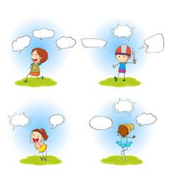 set four kids with speech bubbles vector image