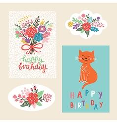 Set of happy birthday design cards vector