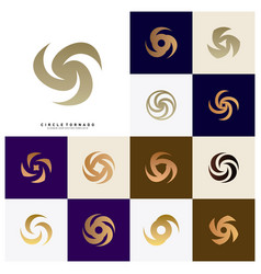 set of vortex logo design concept hurricane icon vector image