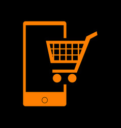 shopping on smart phone sign orange icon on black vector image