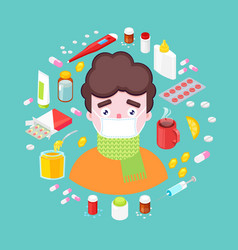 Sick boy with drugs vector