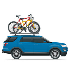 Side view suv car with two bicycles mounted vector