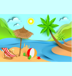 Summer beach holiday vacation tropical landscape vector