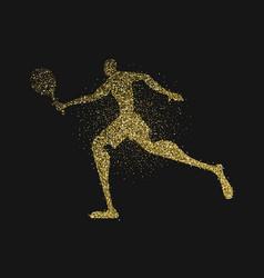 Tennis player silhouette gold glitter splash art vector