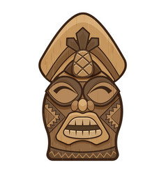 Tiki idol statue icon cartoon style vector