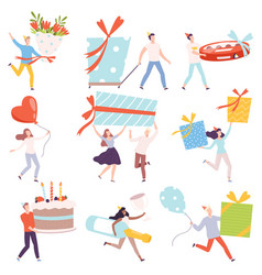 tiny people carrying huge gift boxes set tiny vector image
