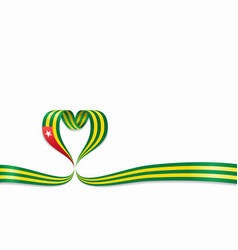 togolese flag heart-shaped ribbon vector image