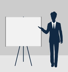 Trainer stand near whiteboard presentation demo vector image