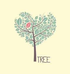 tree with leaves flat design icon vector image