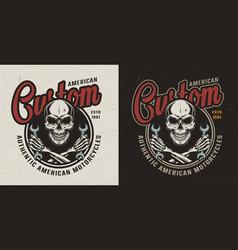 vintage motorcycle repair service logo vector image