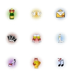 Wedding icons set pop-art style vector