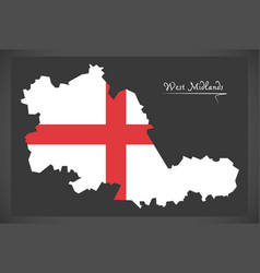 West midlands county map england uk with english vector