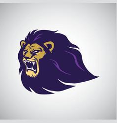 wild lion roaring head mascot vector image