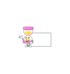 With board cartoon sandglass with character mascot vector