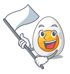 with flag freshly boiled egg isolated on mascot vector image