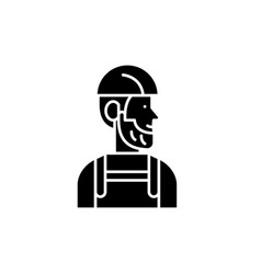 worker black icon sign on isolated vector image