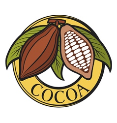 Cacao - cocoa beans label vector image vector image