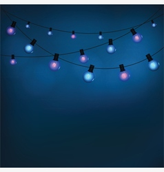 Glowing garland light bulbs vector image