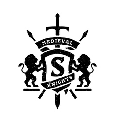 Heraldic emblems shields lions and swords vector image vector image