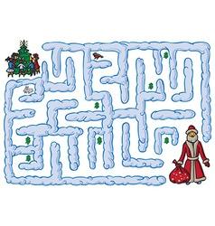 Maze santa claus and new year vector