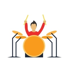 Musician drummer cartoon characters with guitar vector image