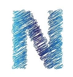 sketched letter N vector image vector image